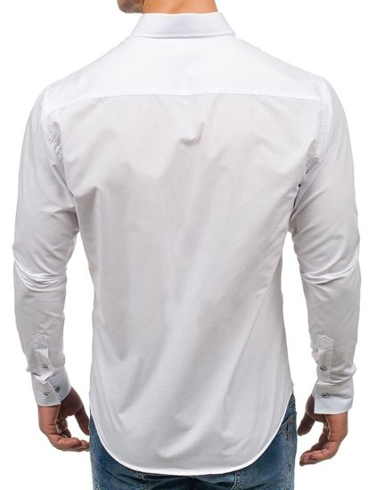 Bílá pánská elegantní košile s dlouhým rukávem Bolf 6927