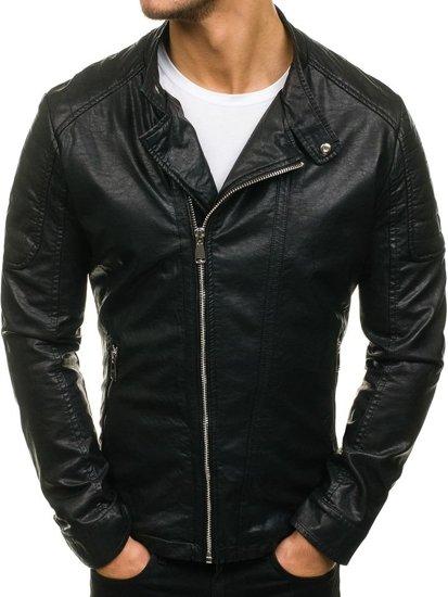Černá pánská koženková bunda Bolf D003