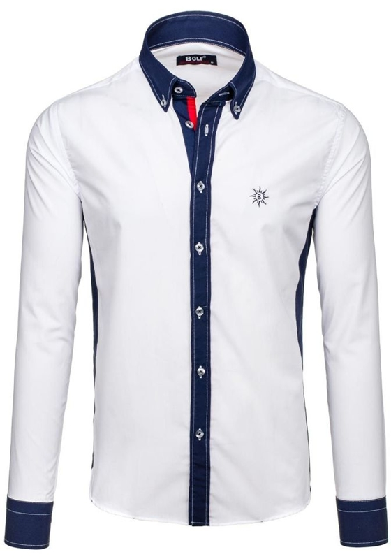 White Men's Long Sleeve Shirt Bolf 6853